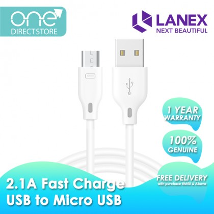 Lanex 2.1A Fast Charge USB to Micro USB Cable 2M - LTC N06M
