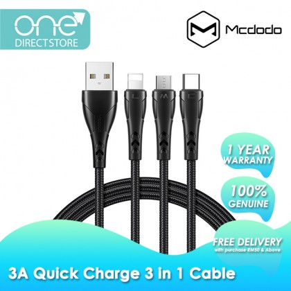 Mcdodo Mamba Series 3A Lightning + Type-C + Micro USB 3 in 1 Cable 1.2M CA696