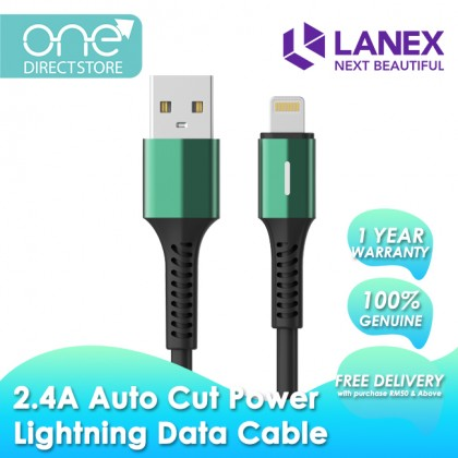 Lanex 2.4A Auto Cut Power Lightning Data Cable with Breathing LED 1.2M - LTC N15L