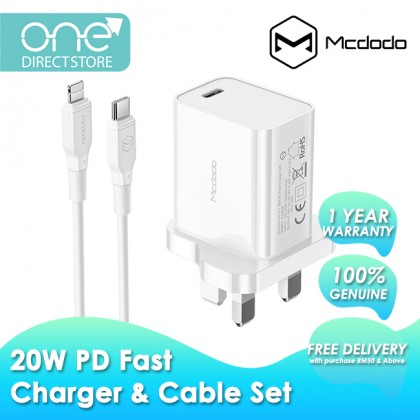 Mcdodo 20W PD Wall Charger c/w PD Cable (Support iPhone 8-12 Series) CH757
