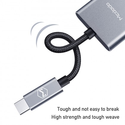 Mcdodo Boss Series 60W PD Type-C to Dual Type-C Audio Adapter Cable CA755