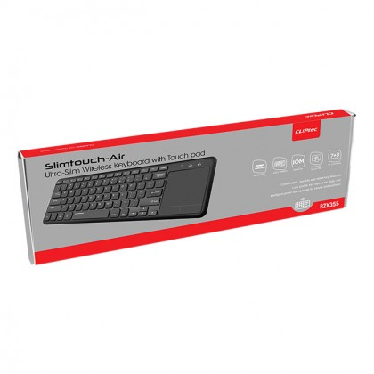 CLiPtec SLIMTOUCH-AIR Ultra-Slim Wireless Keyboard with Touchpad & ON/OFF Button (Support Smart TV) RZK355