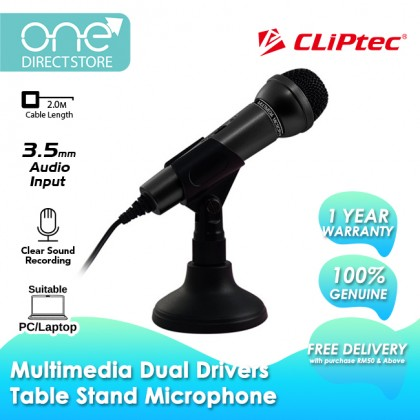 CLiPtec Multimedia Dual Drivers Table Stand Microphone (3.5MM Audio Jack) BMM610