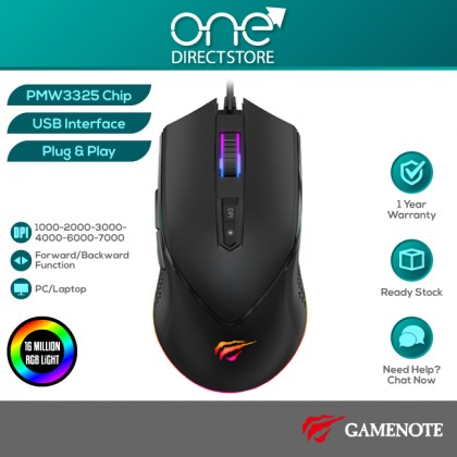 GAMENOTE MS814 7000DPI RGB Backlit Programmable Gaming Mouse