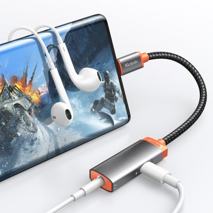 Mcdodo Oryx Series 60W PD Type-C to Type-C and DC3.5mm Audio Adapter Cable (Support Calling, Audio & Wire Control) CA050