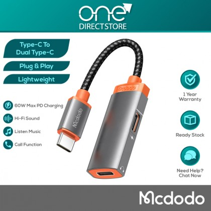 Mcdodo Oryx Series 60W PD Type-C to Dual Type-C Audio Adapter Cable (Support Calling, Audio & Wire Control) CA052