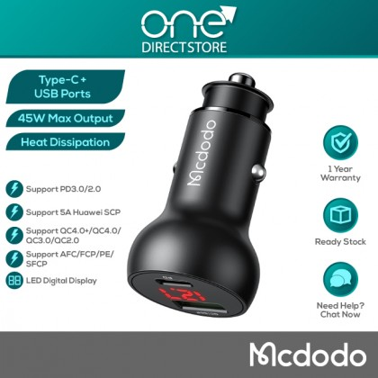 Mcdodo Mushrooms Series PD 45W Type-C+USB Ports Car Charger with Digital Display (PD3.0, FCP, SCP, AFC, QC4.0+) CC703